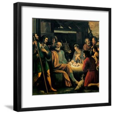 Nativity and the Adoration of the Shepherds-Giuseppe Vermiglio-Framed Art Print
