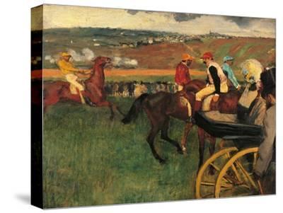 Racecourse, Amateur Jockeys Near a Carriage-Edgar Degas-Stretched Canvas Print