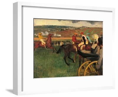 Racecourse, Amateur Jockeys Near a Carriage-Edgar Degas-Framed Art Print