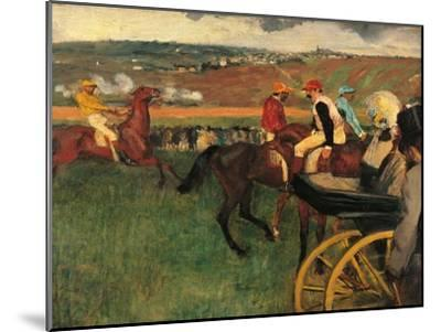 Racecourse, Amateur Jockeys Near a Carriage-Edgar Degas-Mounted Art Print