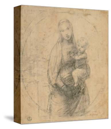 Drawing, Madonna and Child at two thirds figure-Raphael-Stretched Canvas Print