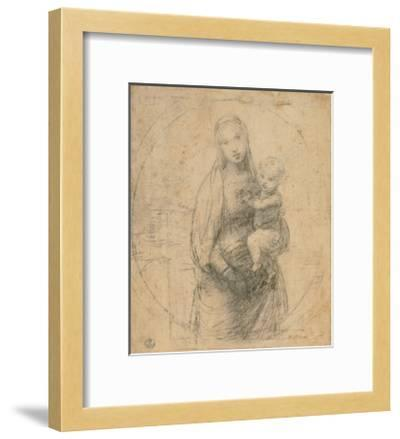 Drawing, Madonna and Child at two thirds figure-Raphael-Framed Art Print