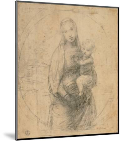 Drawing, Madonna and Child at two thirds figure-Raphael-Mounted Art Print
