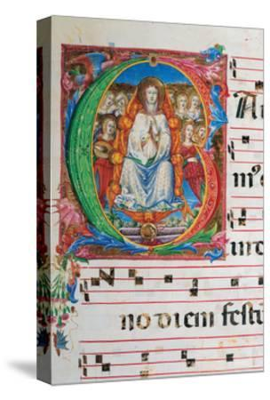 Choral part of the Mass, illuminated manuscript, 15th c. Osservanza Basilica, Siena, Italy--Stretched Canvas Print