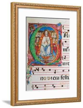 Choral part of the Mass, illuminated manuscript, 15th c. Osservanza Basilica, Siena, Italy--Framed Art Print
