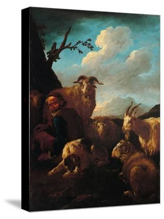 Shepherd with Animals- Rosa da Tivoli,-Stretched Canvas Print