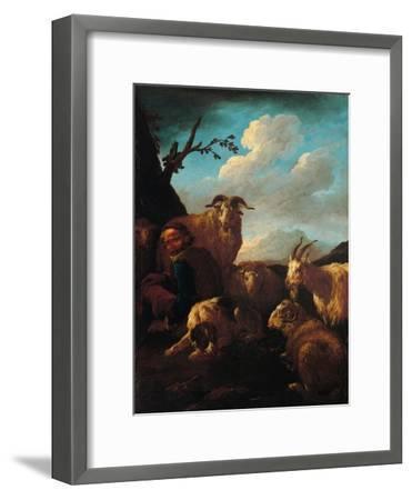 Shepherd with Animals- Rosa da Tivoli,-Framed Art Print