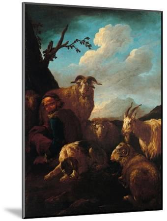 Shepherd with Animals- Rosa da Tivoli,-Mounted Art Print