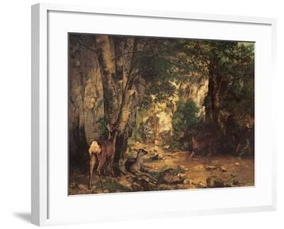 Thicket of Roe Deer at the Stream of Plaisir Fontaine-Gustave Courbet-Framed Art Print