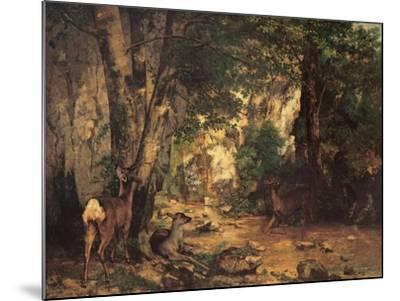 Thicket of Roe Deer at the Stream of Plaisir Fontaine-Gustave Courbet-Mounted Art Print