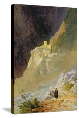 Mount Athos, the Monastery of St. Paul, 1858-Edward Lear-Stretched Canvas Print