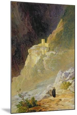 Mount Athos, the Monastery of St. Paul, 1858-Edward Lear-Mounted Giclee Print