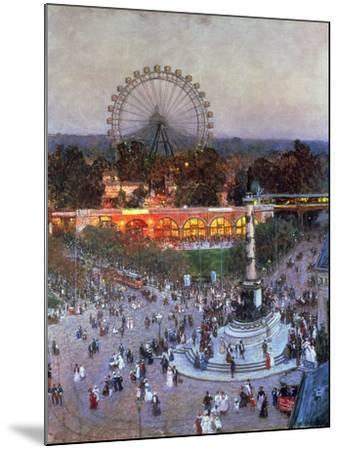 The Admiral Tegetthoff Monument at the Praterstern with the Ferris Wheel, Vienna-Heinrich Tomec-Mounted Giclee Print