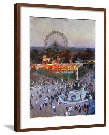 The Admiral Tegetthoff Monument at the Praterstern with the Ferris Wheel, Vienna-Heinrich Tomec-Framed Giclee Print