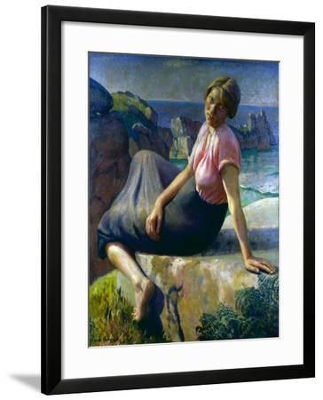 Girl on a Cliff, 1926-Harold Harvey-Framed Giclee Print