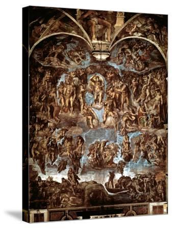 Sistine Chapel: The Last Judgement, 1538-41-Michelangelo Buonarroti-Stretched Canvas Print