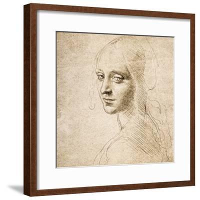 Study for the Head of a Girl, c.1483-Leonardo da Vinci-Framed Premium Giclee Print