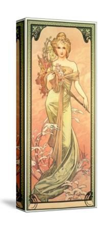 The Seasons: Spring, 1900-Alphonse Mucha-Stretched Canvas Print