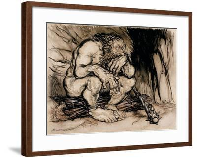 A Most Terrific Giant, Illustration from 'English Fairy Tales', Published 1918-Arthur Rackham-Framed Giclee Print