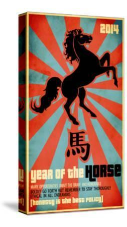Year Of The Horse Poster - Chinese Zodiac Card With The Rearing Horse And Chinese Character Fo-LanaN.-Stretched Canvas Print