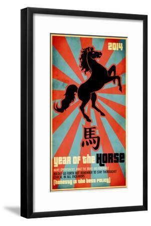 Year Of The Horse Poster - Chinese Zodiac Card With The Rearing Horse And Chinese Character Fo-LanaN.-Framed Art Print