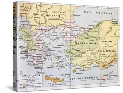 Aegean Region In 13Th Century Old Map-marzolino-Stretched Canvas Print