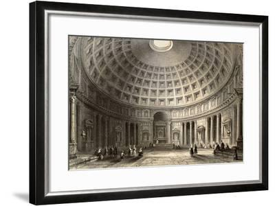 Antique Illustration Of Pantheon In Rome, Italy-marzolino-Framed Art Print