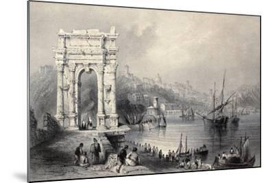 Antique Illustration Of Arco Di Traiano In Ancona, Italy-marzolino-Mounted Art Print