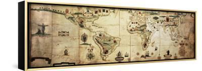 Antique World Planisphere Portolan Map Of Spanish And Portuguese Maritime And Colonial Empire-marzolino-Framed Stretched Canvas Print