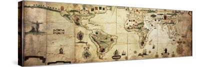 Antique World Planisphere Portolan Map Of Spanish And Portuguese Maritime And Colonial Empire-marzolino-Stretched Canvas Print