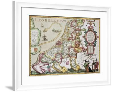 Leo Belgicus: Belgium And Netherlands Old Map In The Form Of A Lion-marzolino-Framed Art Print