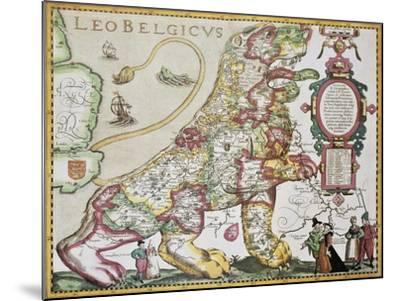 Leo Belgicus: Belgium And Netherlands Old Map In The Form Of A Lion-marzolino-Mounted Art Print