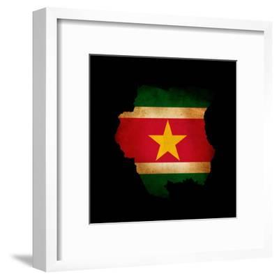 Outline Map Of Suriname With Grunge Flag Insert Isolated On Black-Veneratio-Framed Art Print