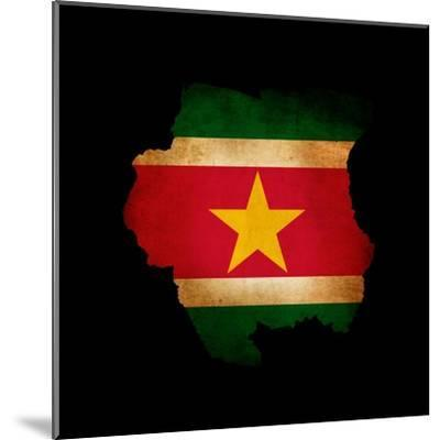 Outline Map Of Suriname With Grunge Flag Insert Isolated On Black-Veneratio-Mounted Art Print