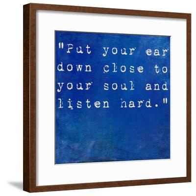 Inspirational Quote By Anne Sexton On Earthy Blue Background-nagib-Framed Premium Giclee Print