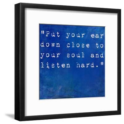 Inspirational Quote By Anne Sexton On Earthy Blue Background-nagib-Framed Art Print