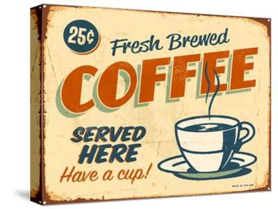Vintage Design -  Fresh Brewed Coffee-Real Callahan-Stretched Canvas Print