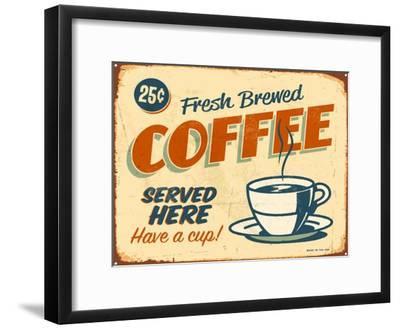 Vintage Design -  Fresh Brewed Coffee-Real Callahan-Framed Art Print