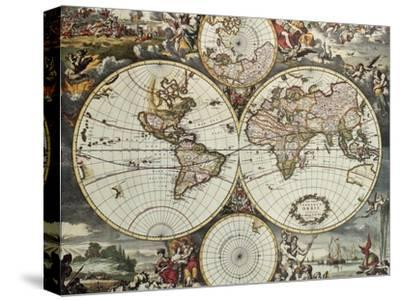 Old Map Of World Hemispheres. Created By Frederick De Wit, Published In Amsterdam, 1668-marzolino-Stretched Canvas Print