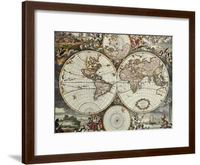 Old Map Of World Hemispheres. Created By Frederick De Wit, Published In Amsterdam, 1668-marzolino-Framed Art Print