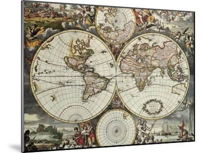 Old Map Of World Hemispheres. Created By Frederick De Wit, Published In Amsterdam, 1668-marzolino-Mounted Art Print