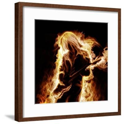 Musician With An Electronic Guitar Enveloped In Flames On A Black Background-Sergey Nivens-Framed Premium Giclee Print