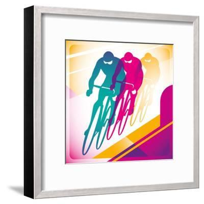 Illustrated Bicycle Driving In Color-Rashomon-Framed Art Print