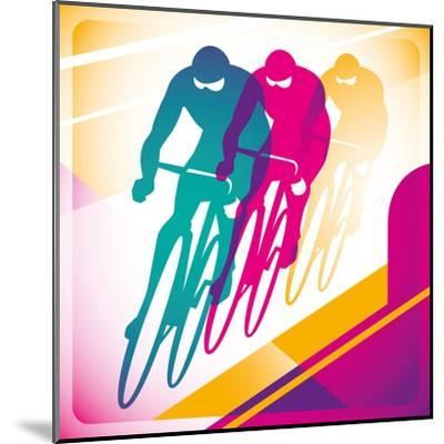 Illustrated Bicycle Driving In Color-Rashomon-Mounted Art Print