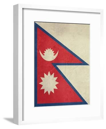 Grunge Sovereign State Flag Of Country Of Nepal In Official Colors-Speedfighter-Framed Art Print