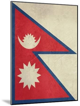 Grunge Sovereign State Flag Of Country Of Nepal In Official Colors-Speedfighter-Mounted Art Print