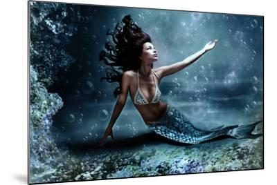 Mythology Being, Mermaid In Underwater Scene, Photo Compilation-coka-Mounted Art Print