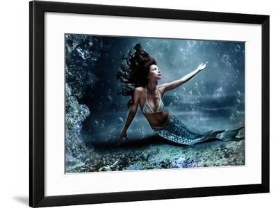 Mythology Being, Mermaid In Underwater Scene, Photo Compilation-coka-Framed Art Print