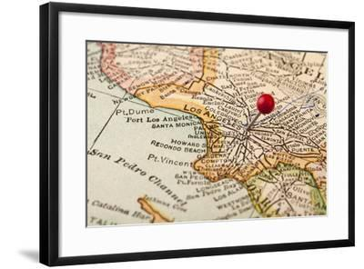 Vintage Los Angeles 1920S Map (Printed In 1926 - Copyrights Expired) With A Red Pushpin-PixelsAway-Framed Art Print
