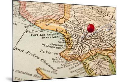 Vintage Los Angeles 1920S Map (Printed In 1926 - Copyrights Expired) With A Red Pushpin-PixelsAway-Mounted Art Print